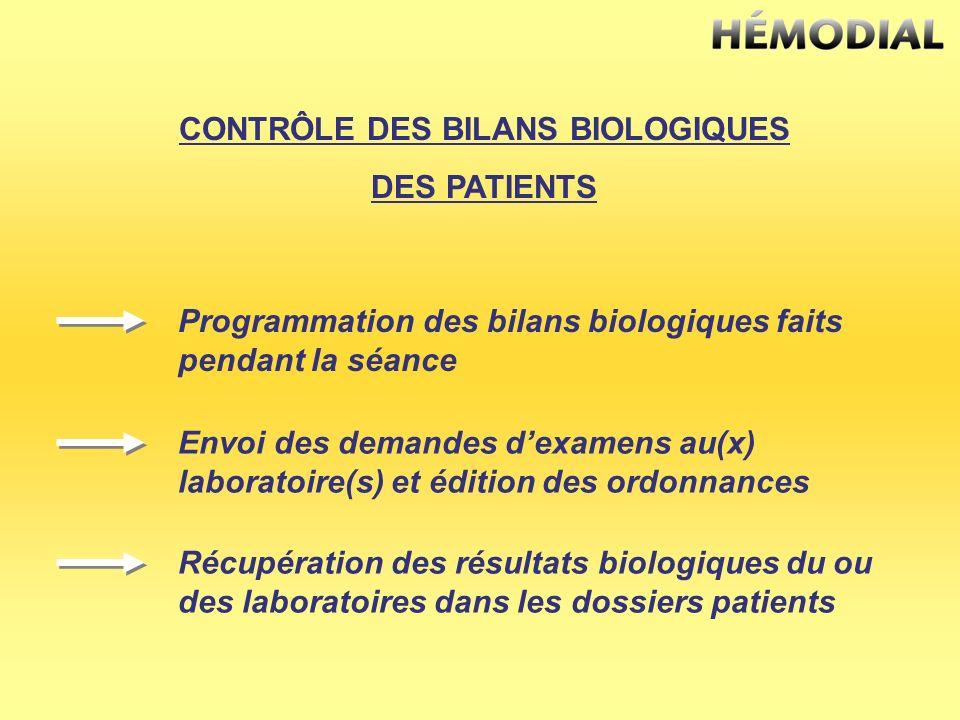 CONTRÔLE DES BILANS BIOLOGIQUES DES PATIENTS Programmation des bilans biologiques faits pendant la séance Envoi des demandes dexamens au(x) laboratoir