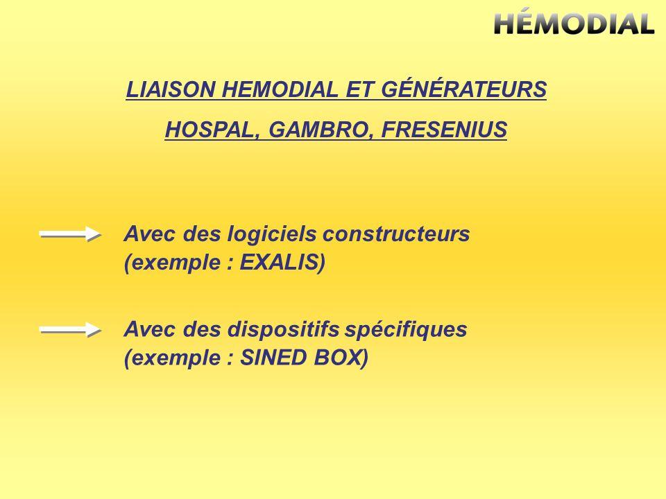 LIAISON HEMODIAL ET GÉNÉRATEURS HOSPAL, GAMBRO, FRESENIUS Avec des logiciels constructeurs (exemple : EXALIS) Avec des dispositifs spécifiques (exempl