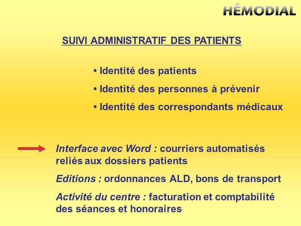 SUIVI ADMINISTRATIF DES PATIENTS Identité des patients Identité des personnes à prévenir Identité des correspondants médicaux Interface avec Word : co