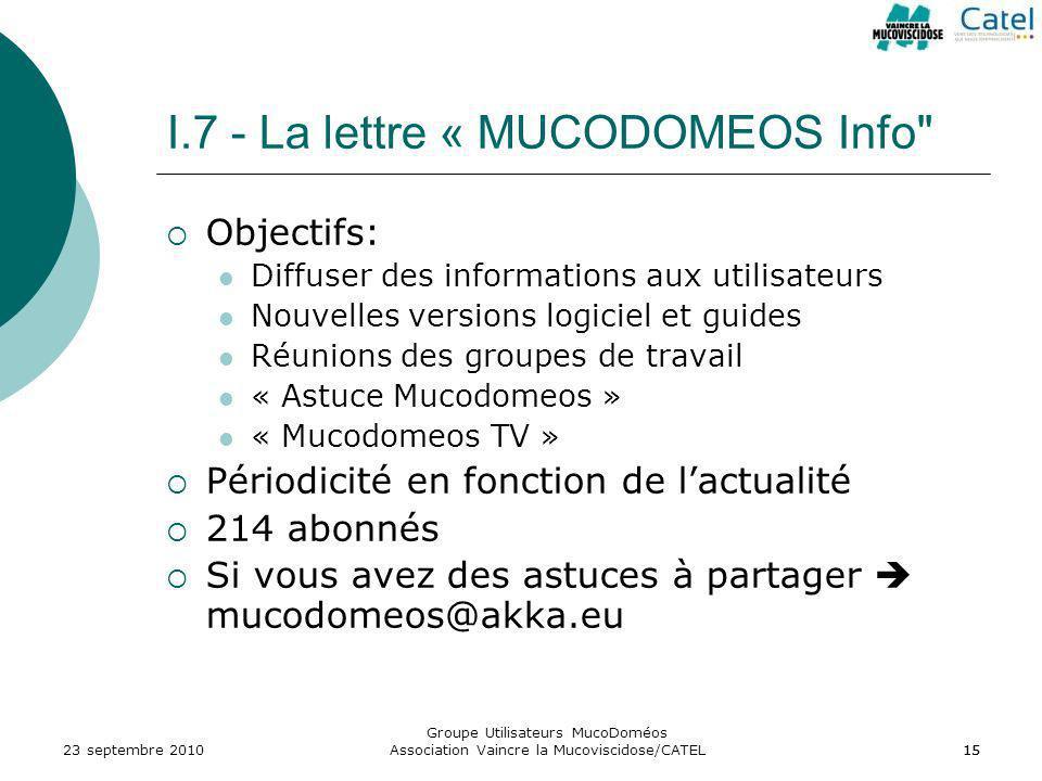 Groupe Utilisateurs MucoDoméos Association Vaincre la Mucoviscidose/CATEL15 I.7 - La lettre « MUCODOMEOS Info