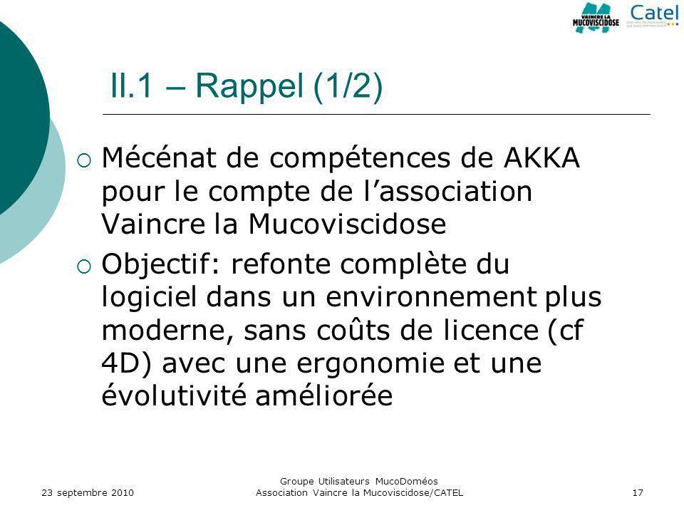 Groupe Utilisateurs MucoDoméos Association Vaincre la Mucoviscidose/CATEL17 II.1 – Rappel (1/2) Mécénat de compétences de AKKA pour le compte de lasso