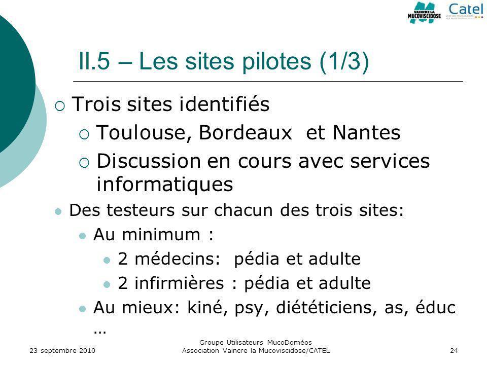 II.5 – Les sites pilotes (1/3) 23 septembre 2010 Groupe Utilisateurs MucoDoméos Association Vaincre la Mucoviscidose/CATEL24 Trois sites identifiés To