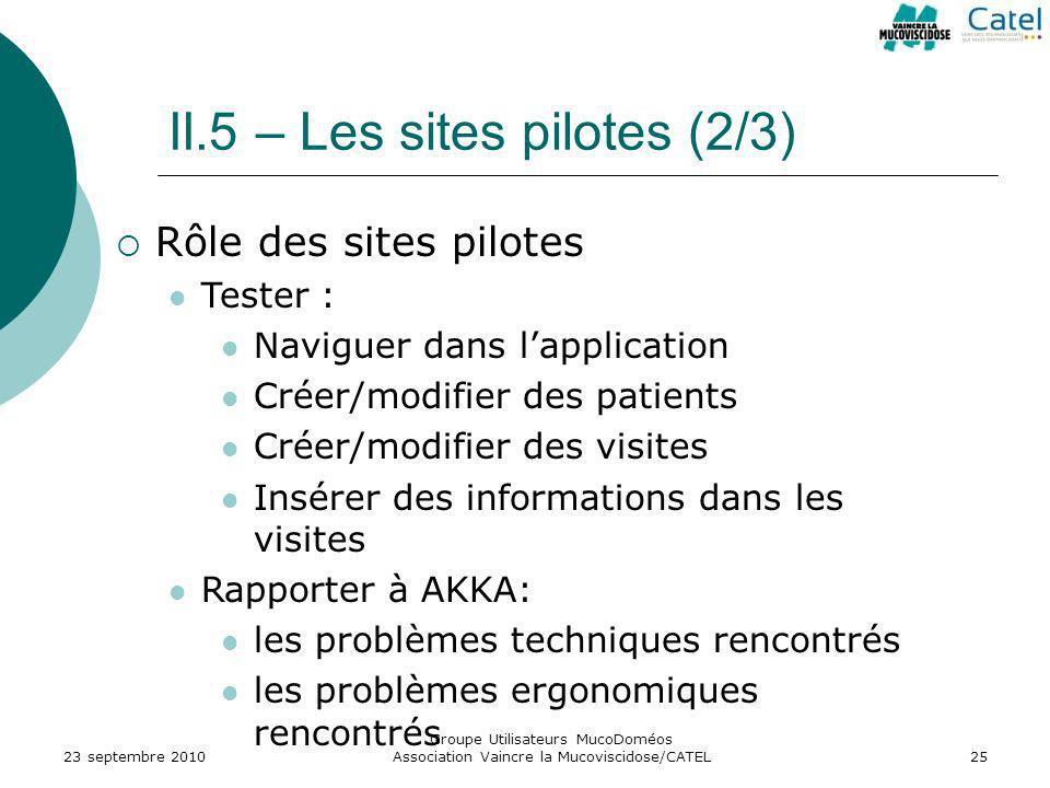 II.5 – Les sites pilotes (2/3) 23 septembre 2010 Groupe Utilisateurs MucoDoméos Association Vaincre la Mucoviscidose/CATEL25 Rôle des sites pilotes Te