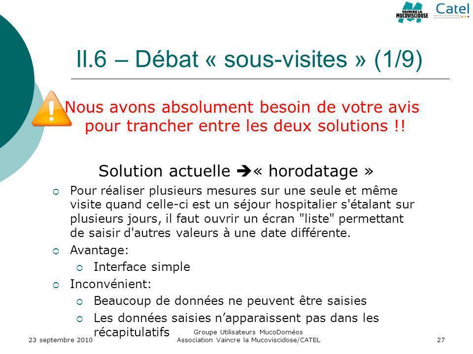 II.6 – Débat « sous-visites » (1/9) 23 septembre 2010 Groupe Utilisateurs MucoDoméos Association Vaincre la Mucoviscidose/CATEL27 Nous avons absolumen