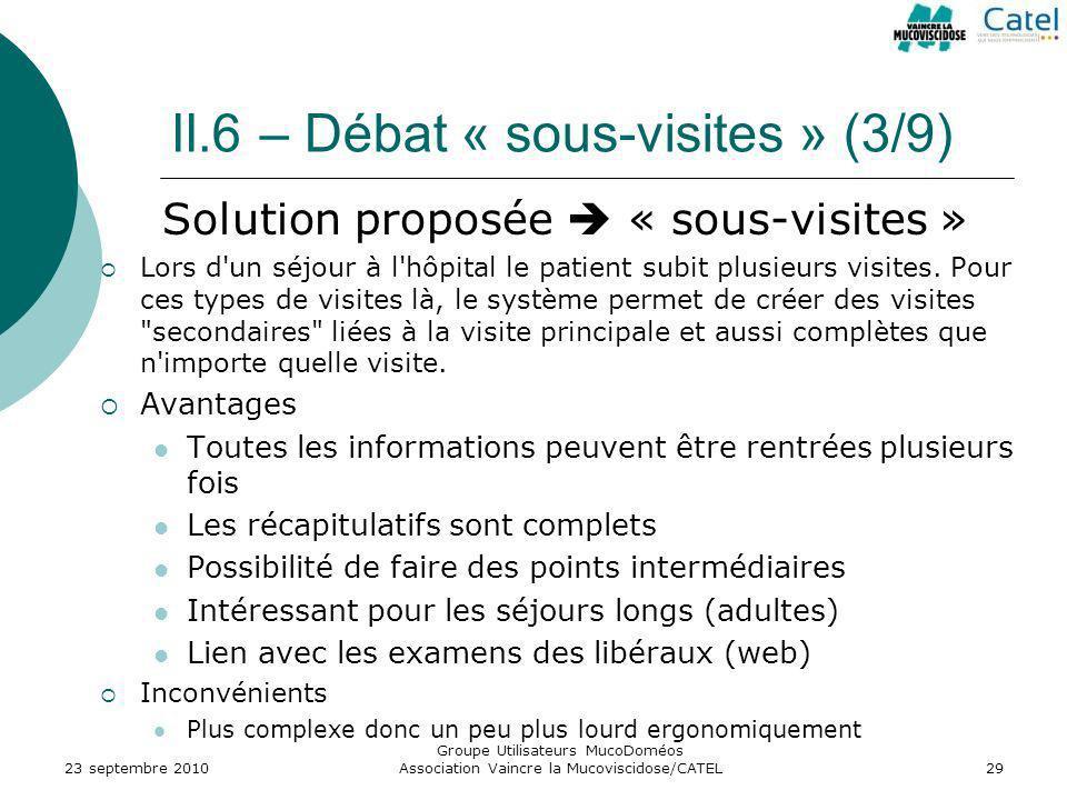 II.6 – Débat « sous-visites » (3/9) Solution proposée « sous-visites » Lors d'un séjour à l'hôpital le patient subit plusieurs visites. Pour ces types