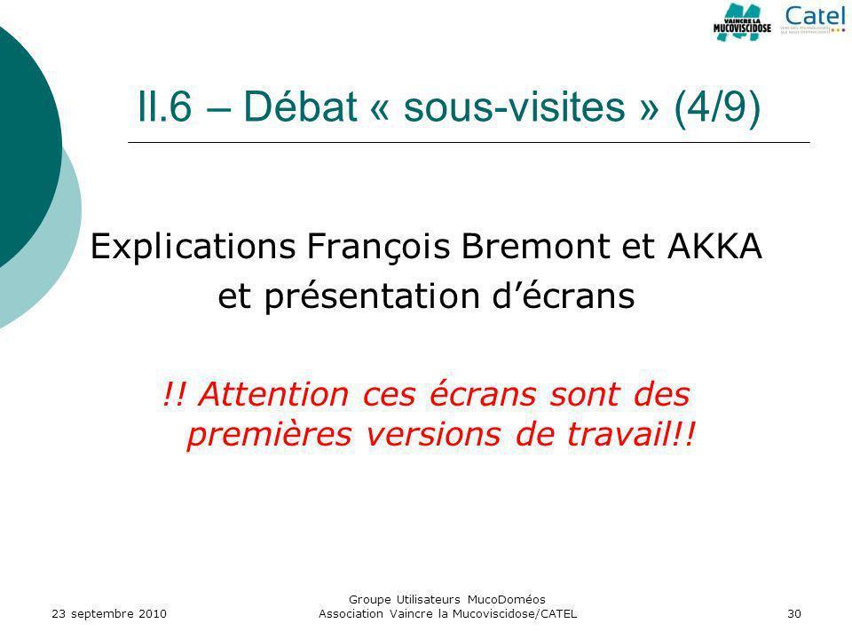 II.6 – Débat « sous-visites » (4/9) Explications François Bremont et AKKA et présentation décrans !! Attention ces écrans sont des premières versions