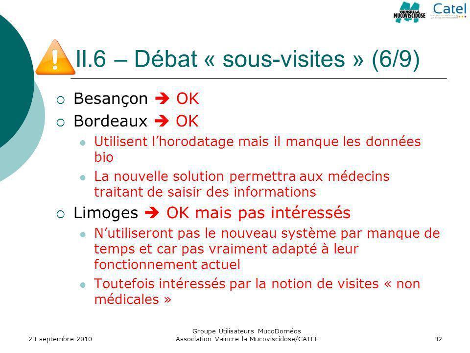 II.6 – Débat « sous-visites » (6/9) Besançon OK Bordeaux OK Utilisent lhorodatage mais il manque les données bio La nouvelle solution permettra aux mé
