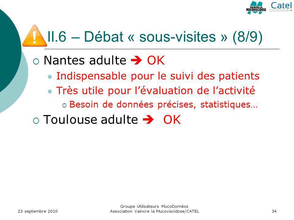II.6 – Débat « sous-visites » (8/9) Nantes adulte OK Indispensable pour le suivi des patients Très utile pour lévaluation de lactivité Besoin de donné
