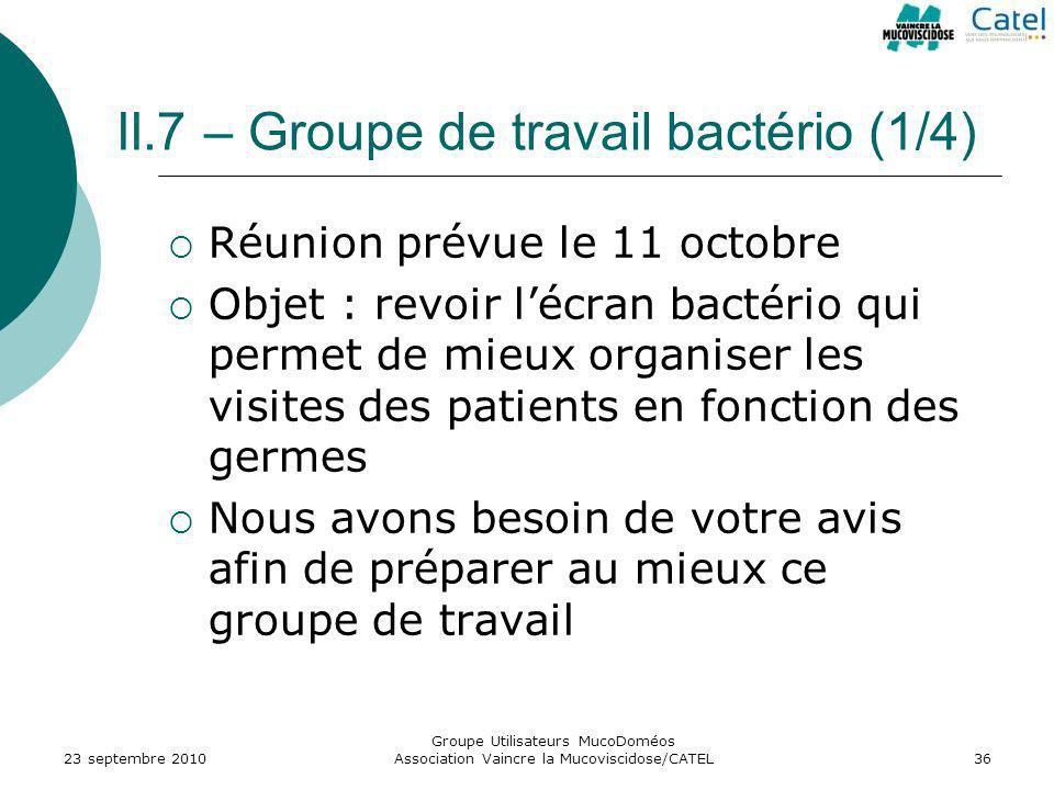 II.7 – Groupe de travail bactério (1/4) Réunion prévue le 11 octobre Objet : revoir lécran bactério qui permet de mieux organiser les visites des pati