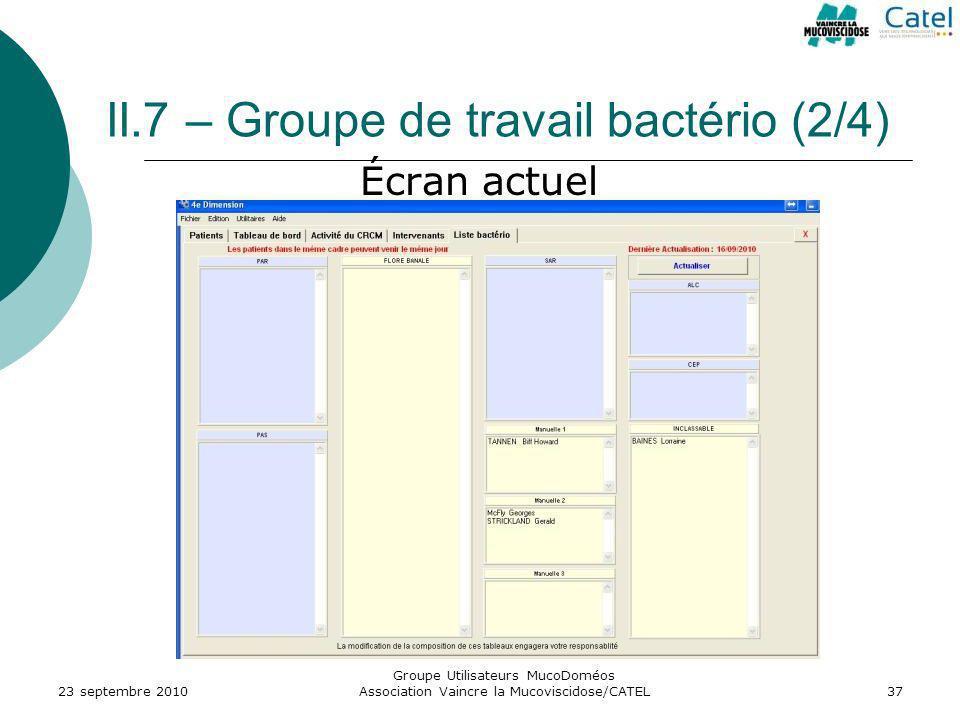 II.7 – Groupe de travail bactério (2/4) 23 septembre 2010 Groupe Utilisateurs MucoDoméos Association Vaincre la Mucoviscidose/CATEL37 Écran actuel