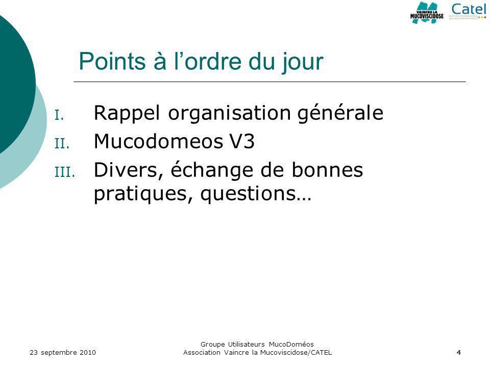 444 Points à lordre du jour I. Rappel organisation générale II. Mucodomeos V3 III. Divers, échange de bonnes pratiques, questions… 23 septembre 2010
