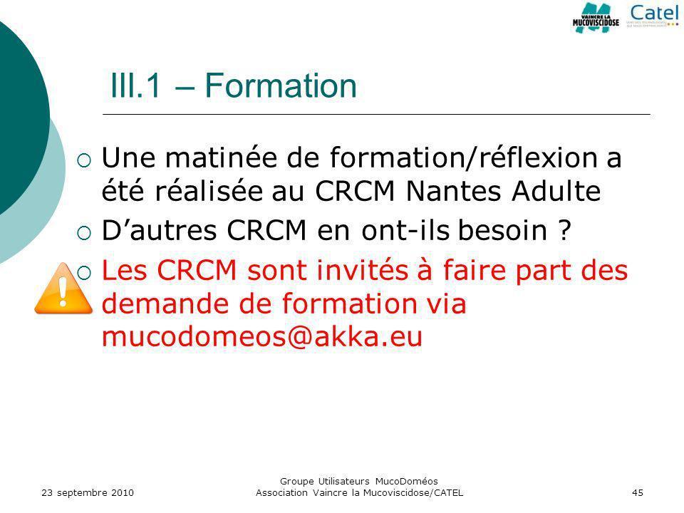 Groupe Utilisateurs MucoDoméos Association Vaincre la Mucoviscidose/CATEL45 III.1 – Formation Une matinée de formation/réflexion a été réalisée au CRC