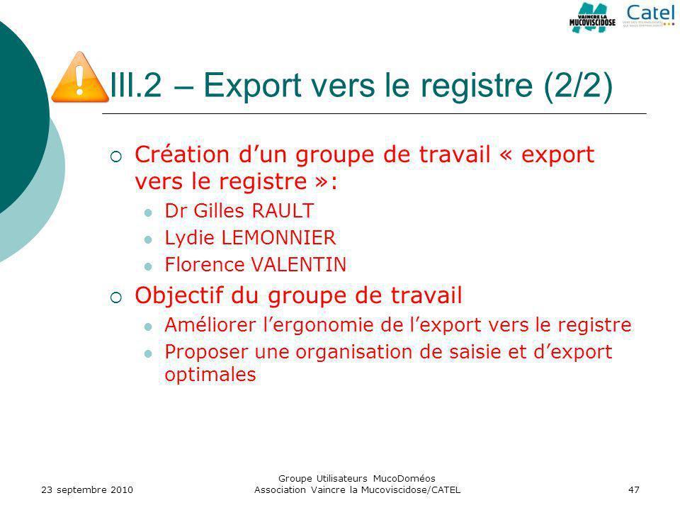 III.2 – Export vers le registre (2/2) Création dun groupe de travail « export vers le registre »: Dr Gilles RAULT Lydie LEMONNIER Florence VALENTIN Ob