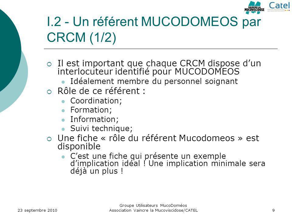 Groupe Utilisateurs MucoDoméos Association Vaincre la Mucoviscidose/CATEL9 I.2 - Un référent MUCODOMEOS par CRCM (1/2) Il est important que chaque CRC