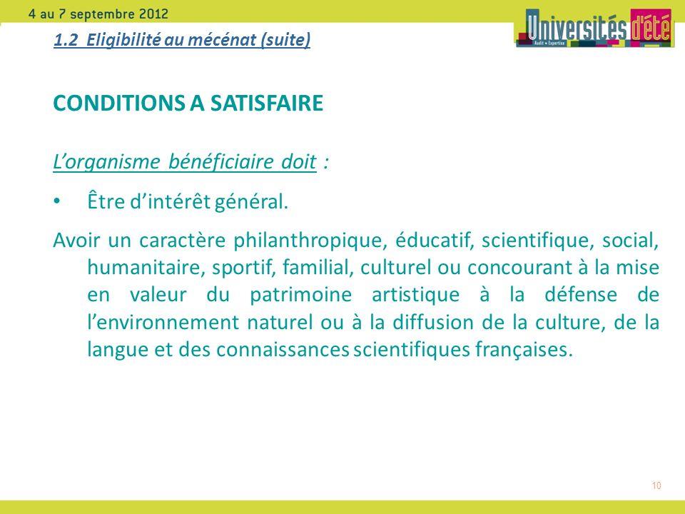 10 1.2 Eligibilité au mécénat (suite) CONDITIONS A SATISFAIRE Lorganisme bénéficiaire doit : Être dintérêt général.