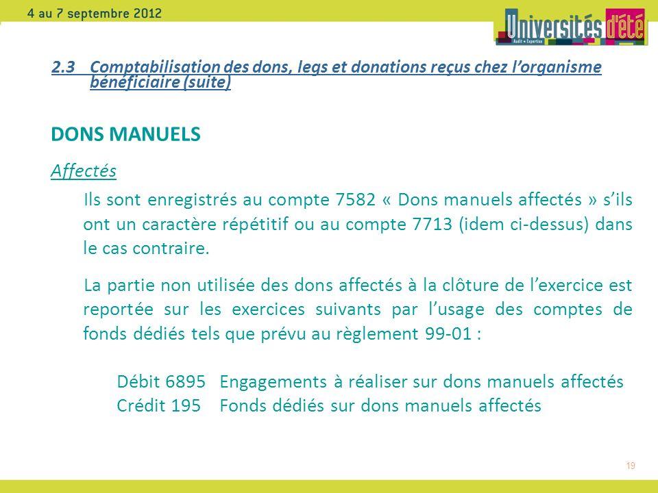 19 DONS MANUELS Affectés Ils sont enregistrés au compte 7582 « Dons manuels affectés » sils ont un caractère répétitif ou au compte 7713 (idem ci-dessus) dans le cas contraire.