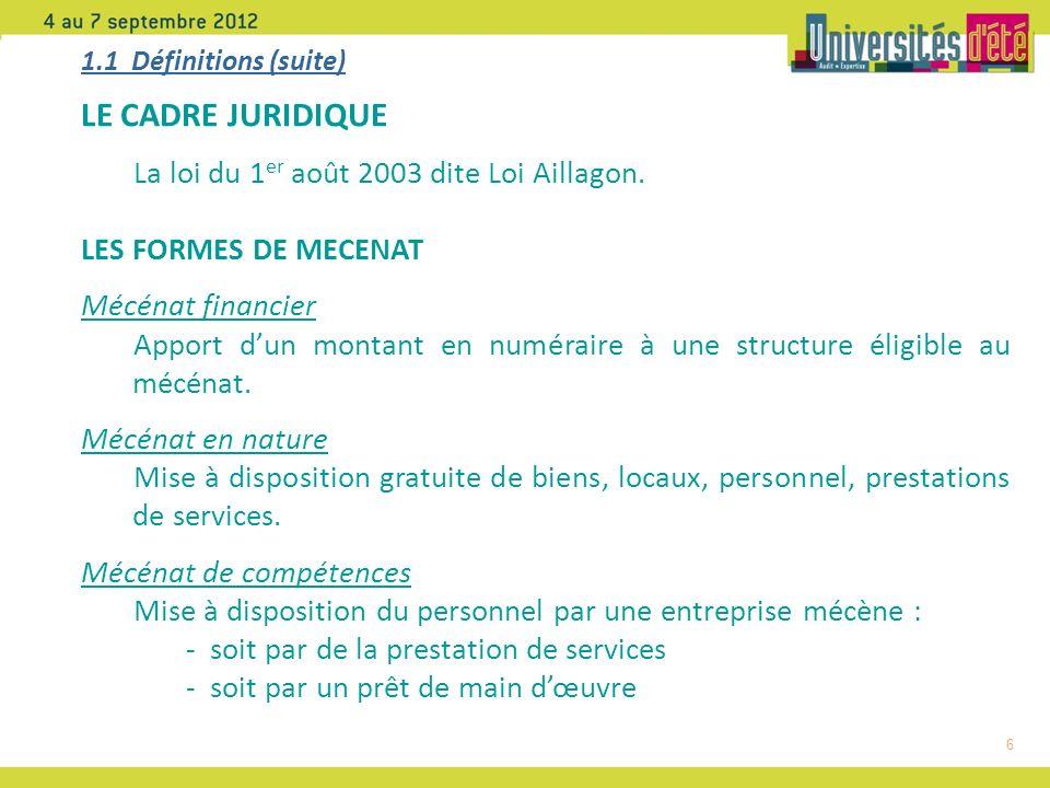 6 1.1 Définitions (suite) LE CADRE JURIDIQUE La loi du 1 er août 2003 dite Loi Aillagon.