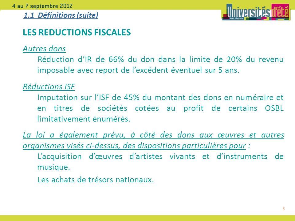 8 1.1 Définitions (suite) LES REDUCTIONS FISCALES Autres dons Réduction dIR de 66% du don dans la limite de 20% du revenu imposable avec report de lexcédent éventuel sur 5 ans.