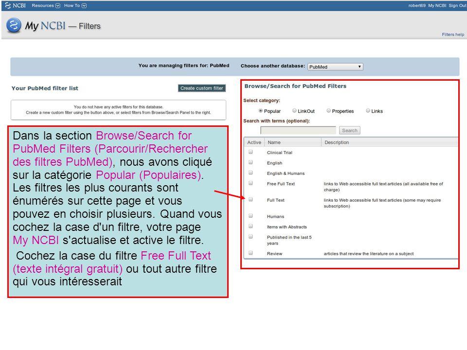 Dans la section Browse/Search for PubMed Filters (Parcourir/Rechercher des filtres PubMed), nous avons cliqué sur la catégorie Popular (Populaires). L