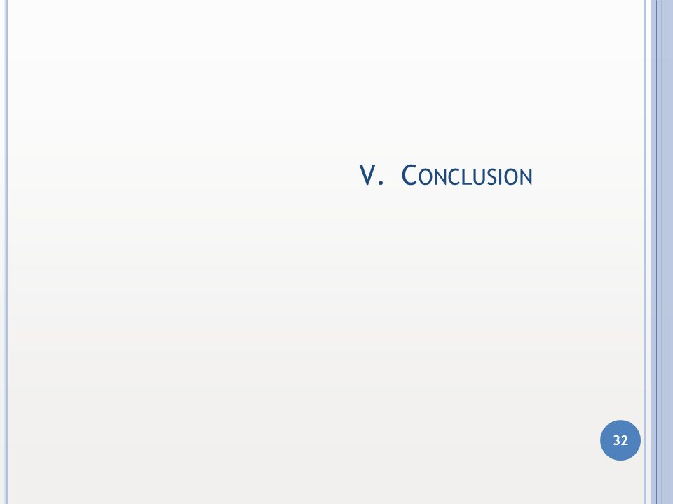 V.C ONCLUSION 32 1 1 2 2 3 3 4 4 5 5 6 6 CONTEXTE DU MÉMOIRE DÉMARCHE RETENUE MODÉLISATION UTILISÉE RÉSULTATS CONCLUSION QUESTIONS