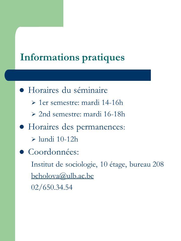 Informations pratiques Horaires du séminaire 1er semestre: mardi 14-16h 2nd semestre: mardi 16-18h Horaires des permanences : lundi 10-12h Coordonnées