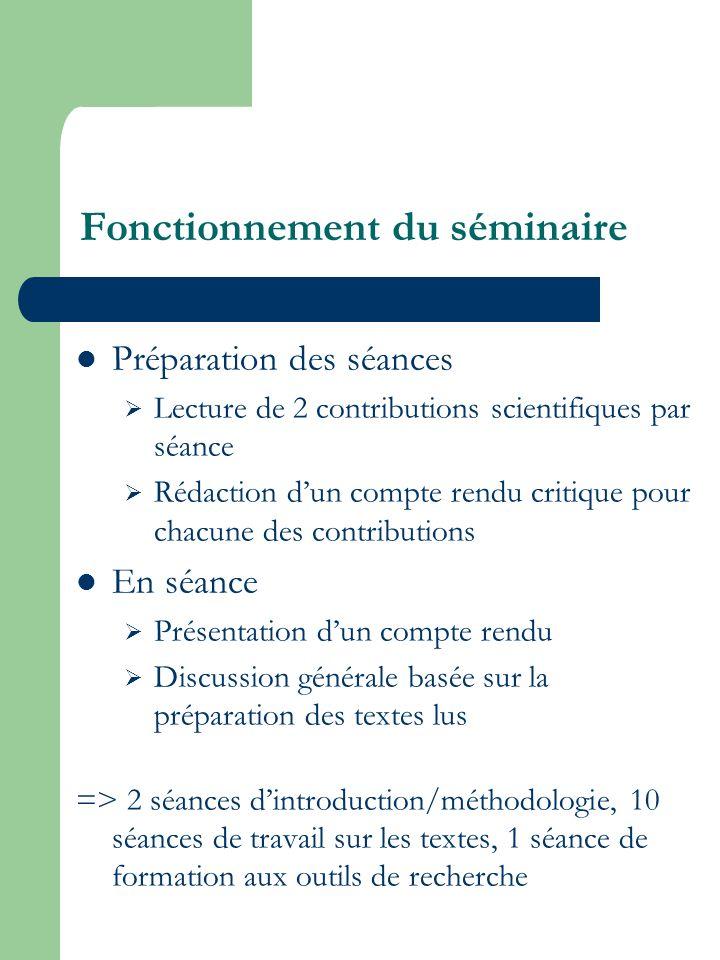 Fonctionnement du séminaire Préparation des séances Lecture de 2 contributions scientifiques par séance Rédaction dun compte rendu critique pour chacu