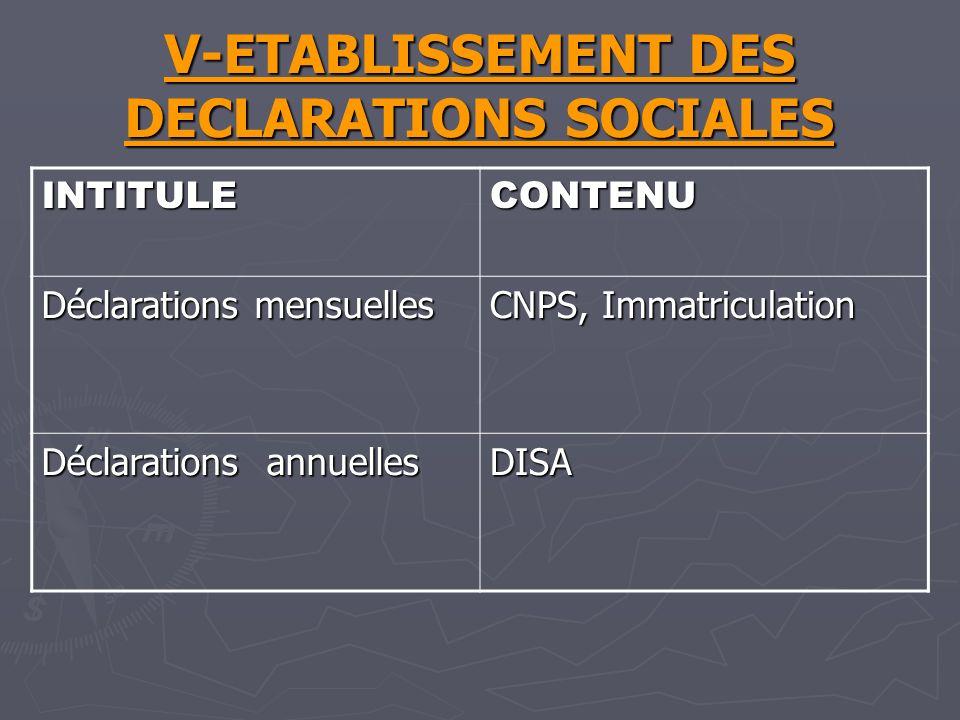 V-ETABLISSEMENT DES DECLARATIONS SOCIALES INTITULECONTENU Déclarations mensuelles CNPS, Immatriculation Déclarations annuelles DISA