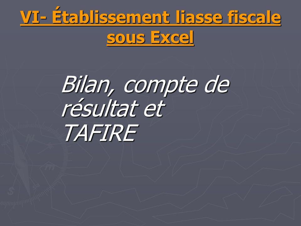 VI- Établissement liasse fiscale sous Excel Bilan, compte de résultat et TAFIRE