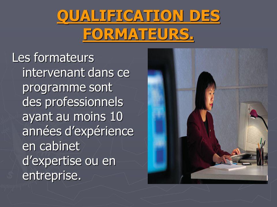 QUALIFICATION DES FORMATEURS.
