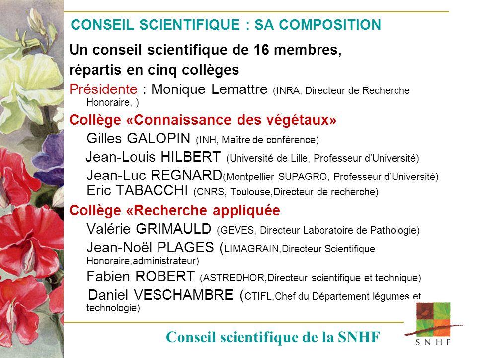 CONSEIL SCIENTIFIQUE : SA COMPOSITION Un conseil scientifique de 16 membres, répartis en cinq collèges Présidente : Monique Lemattre (INRA, Directeur