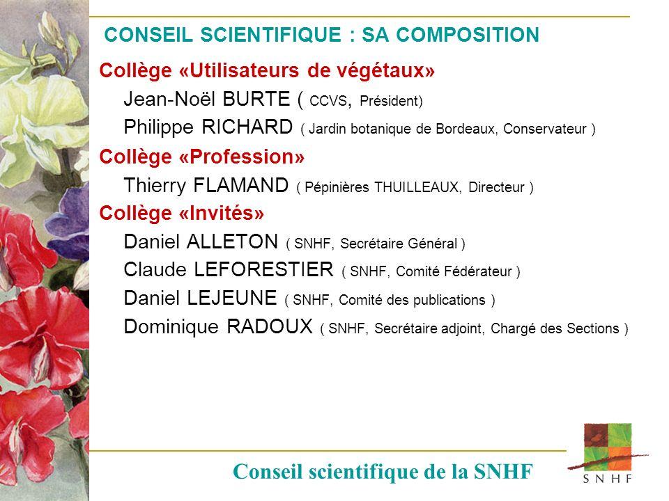 CONSEIL SCIENTIFIQUE : SA COMPOSITION Collège «Utilisateurs de végétaux» Jean-Noël BURTE ( CCVS, Président) Philippe RICHARD ( Jardin botanique de Bor
