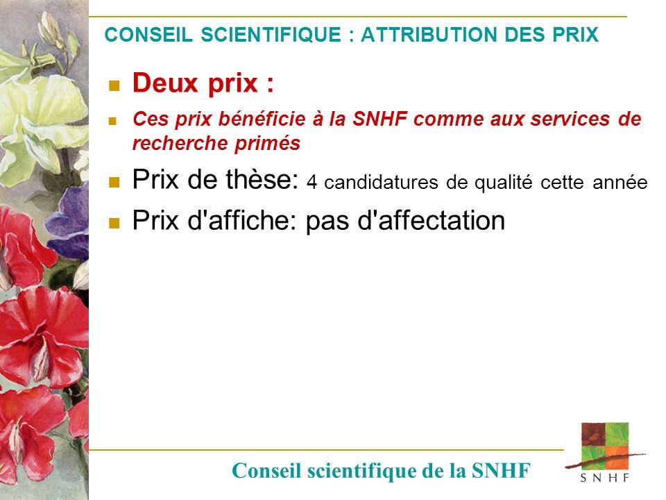 CONSEIL SCIENTIFIQUE : ATTRIBUTION DES PRIX Deux prix : Ces prix bénéficie à la SNHF comme aux services de recherche primés Prix de thèse: 4 candidatu