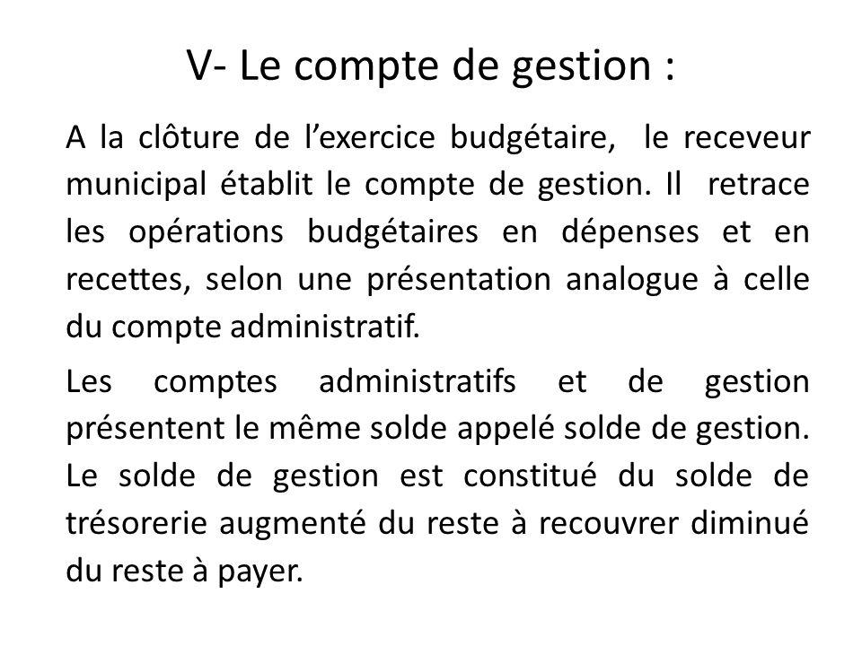 V- Le compte de gestion : A la clôture de lexercice budgétaire, le receveur municipal établit le compte de gestion. Il retrace les opérations budgétai