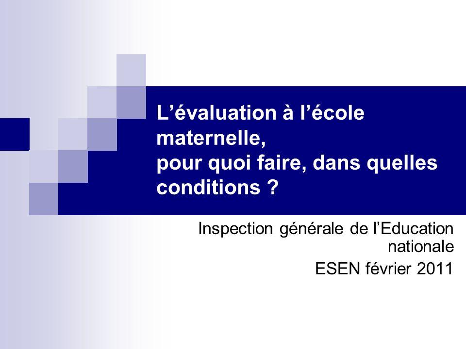 Lévaluation à lécole maternelle, pour quoi faire, dans quelles conditions ? Inspection générale de lEducation nationale ESEN février 2011