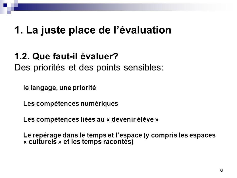 6 1. La juste place de lévaluation 1.2. Que faut-il évaluer? Des priorités et des points sensibles: le langage, une priorité Les compétences numérique