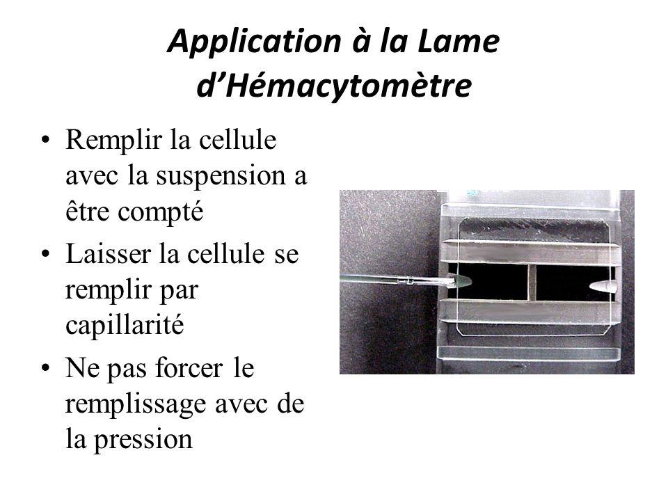Application à la Lame dHémacytomètre Remplir la cellule avec la suspension a être compté Laisser la cellule se remplir par capillarité Ne pas forcer l