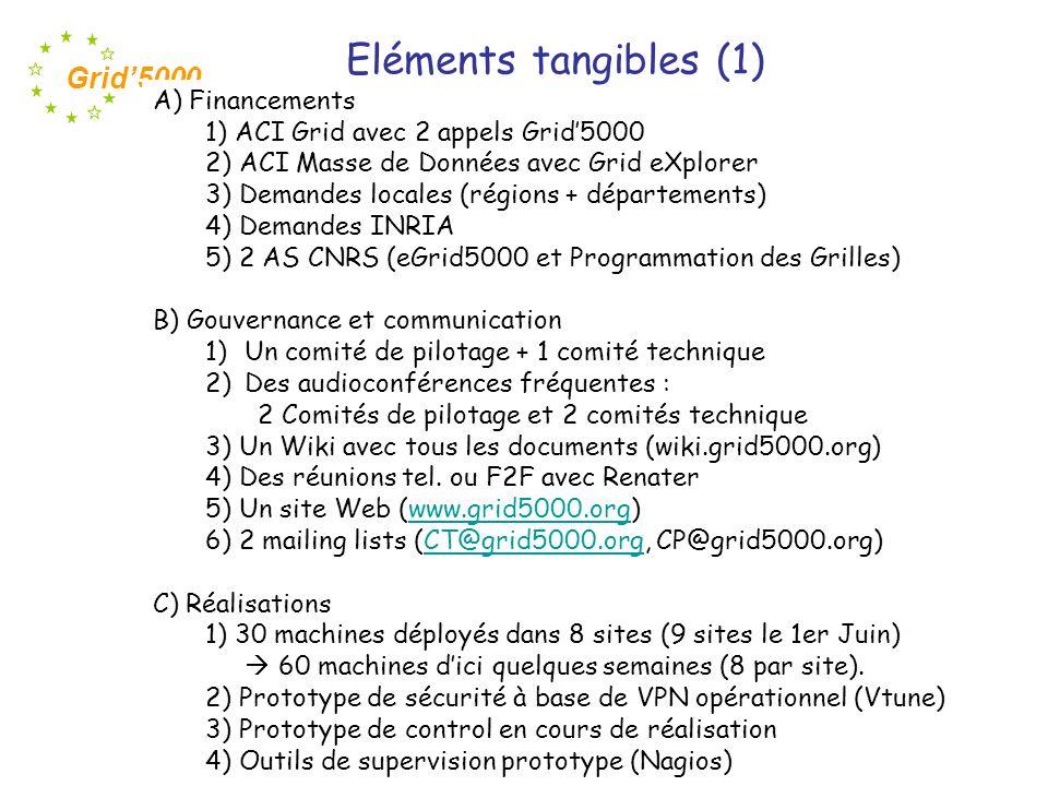 Grid5000 D) Montages en cours 1) 3 Appels doffres lancés (CCTP rédigés et vérifiés par le CP) échange dinformations (Bench.