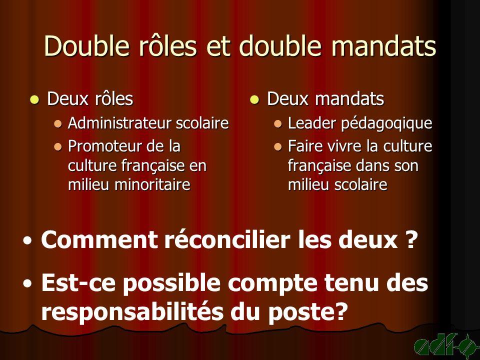 Double rôles et double mandats Deux rôles Deux rôles Administrateur scolaire Administrateur scolaire Promoteur de la culture française en milieu minor