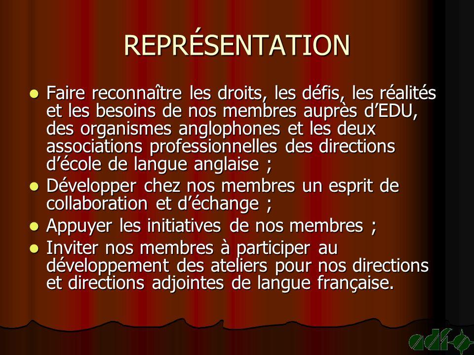 REPRÉSENTATION Faire reconnaître les droits, les défis, les réalités et les besoins de nos membres auprès dEDU, des organismes anglophones et les deux