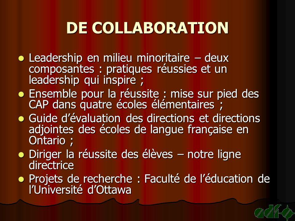 DE COLLABORATION Leadership en milieu minoritaire – deux composantes : pratiques réussies et un leadership qui inspire ; Leadership en milieu minorita