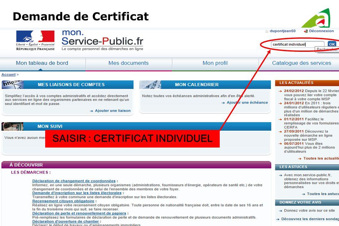 Demande de Certificat SAISIR : CERTIFICAT INDIVIDUEL