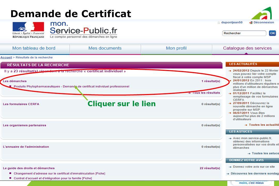 Cliquer sur le lien Demande de Certificat