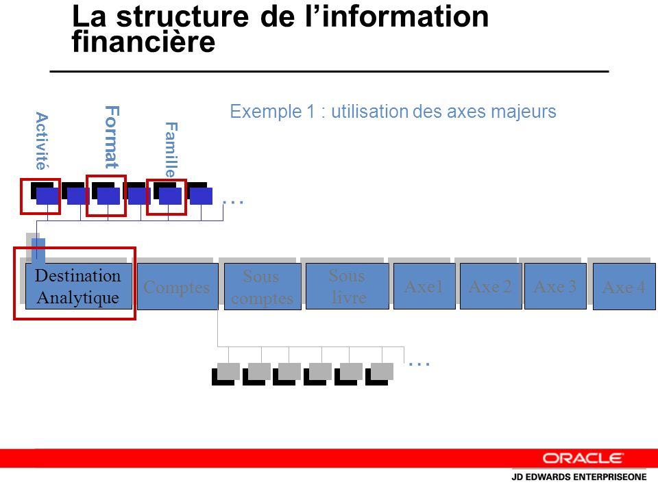La structure de linformation financière Destination Analytique Destination Analytique Comptes Sous comptes Sous comptes Sous livre Sous livre Axe1 Axe 2 Axe 3 Axe 4 … … Exemple 1 : utilisation des axes majeurs Activité Format Famille