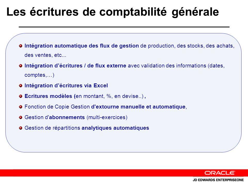 Les écritures de comptabilité générale Intégration automatique des flux de gestion de production, des stocks, des achats, des ventes, etc...