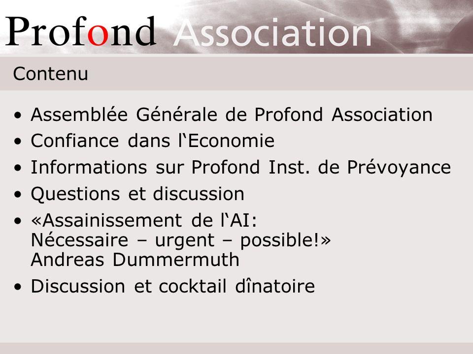 Cordiale bienvenue pour lAssemblée Générale 2007 de Profond Association 21 juin 2007