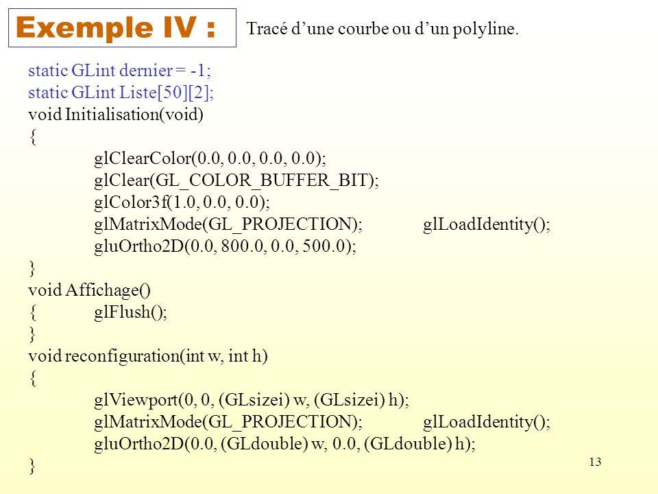 13 Exemple IV : Tracé dune courbe ou dun polyline. static GLint dernier = -1; static GLint Liste[50][2]; void Initialisation(void) { glClearColor(0.0,