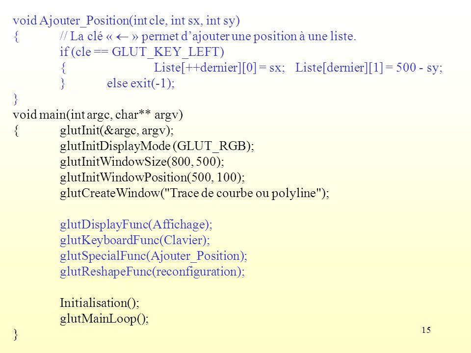15 void Ajouter_Position(int cle, int sx, int sy) {// La clé « » permet dajouter une position à une liste. if (cle == GLUT_KEY_LEFT) {Liste[++dernier]