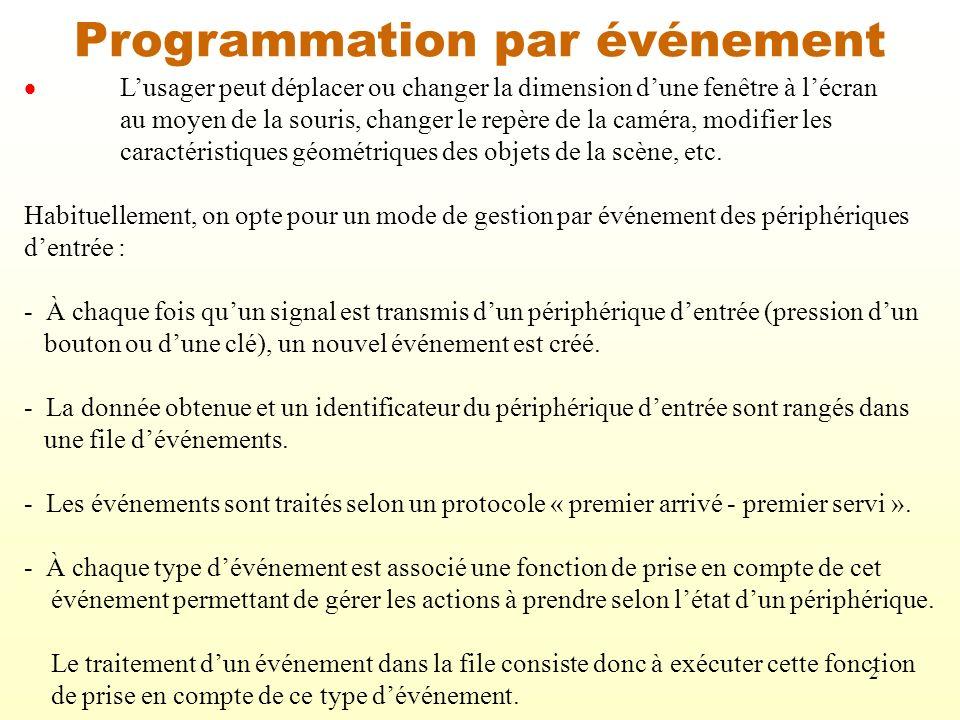 3 Gestion des événements en OpenGL OpenGL fournit différents outils pour faciliter la gestion des événements : glutMouseFunc(Souris); où « Souris » est la fonction de prise en compte dun événement associé à la souris.