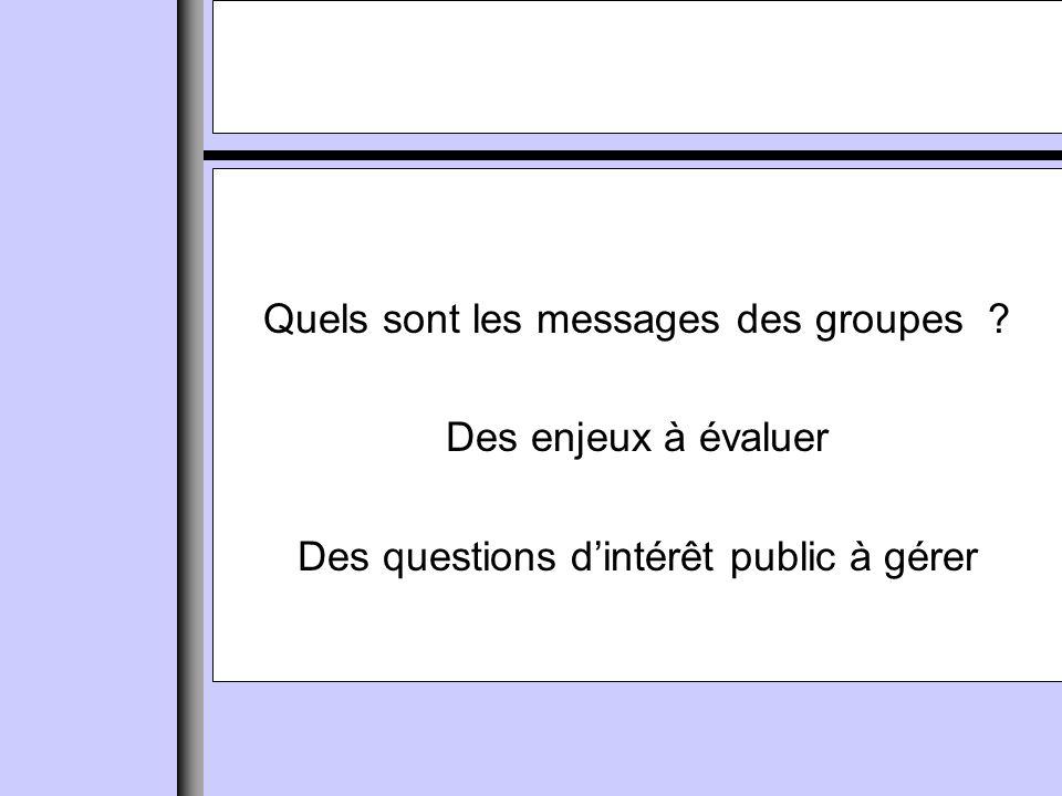 Quels sont les messages des groupes Des enjeux à évaluer Des questions dintérêt public à gérer