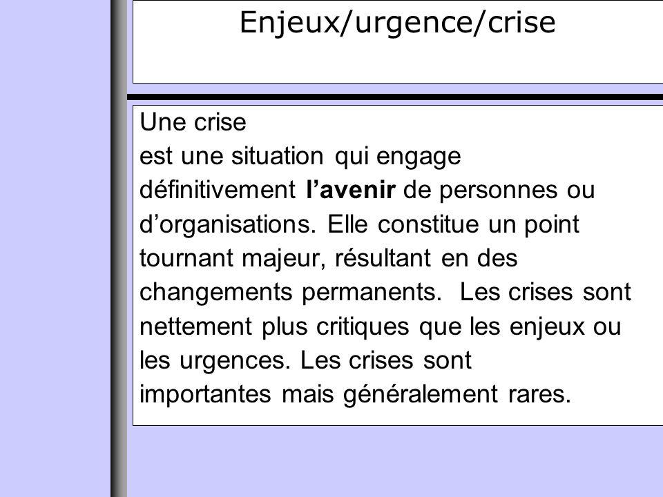 Enjeux/urgence/crise Une crise est une situation qui engage définitivement lavenir de personnes ou dorganisations.